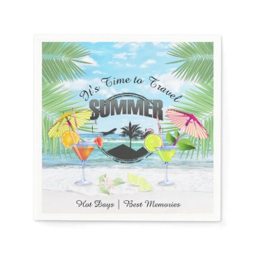 Beach Themed Tropical Beach, Summer Vacation | Personalized Paper Napkin