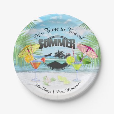 Beach Themed Tropical Beach, Summer Vacation | Personalized Paper Plate