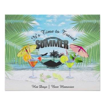 Beach Themed Tropical Beach, Summer Vacation | Personalized Poster