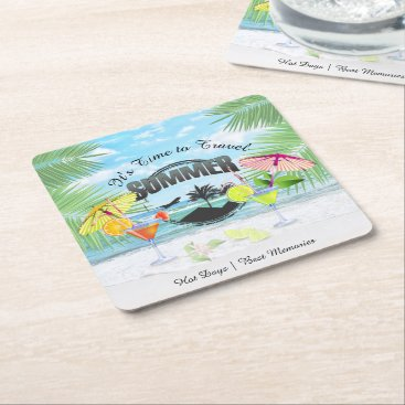 Beach Themed Tropical Beach, Summer Vacation | Personalized Square Paper Coaster