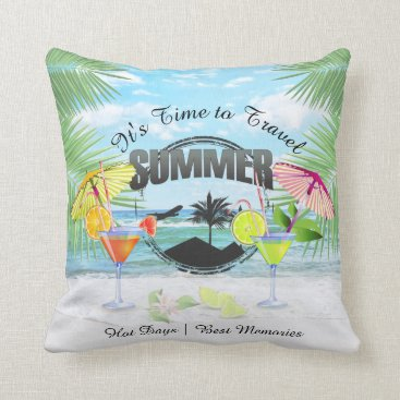 Beach Themed Tropical Beach, Summer Vacation | Personalized Throw Pillow