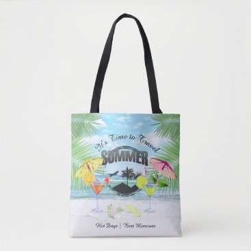 Beach Themed Tropical Beach, Summer Vacation | Personalized Tote Bag
