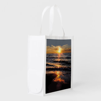 Tropical Beach Sunet Reusable Grocery Bag