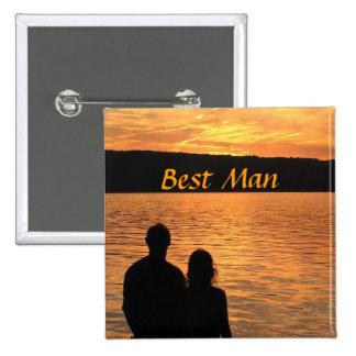 Tropical Beach Sunset Best Man Pin