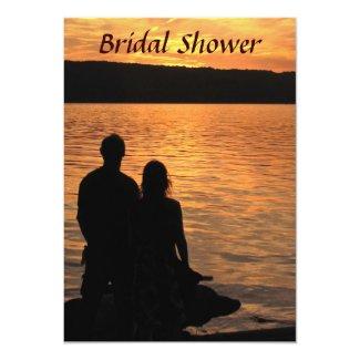 Tropical Beach Sunset Bridal Shower 5x7 Paper Invitation Card