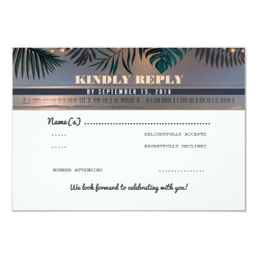 Tropical Beach Sunset Destination Wedding RSVP Card