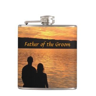 Tropical Beach Sunset Father of the Groom Flask