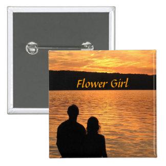 Tropical Beach Sunset Flower Girl Pin