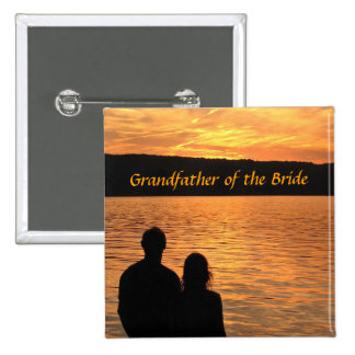 Tropical Beach Sunset Grandfather of the Bride Pin
