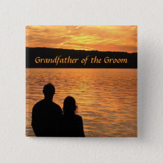 Tropical Beach Sunset Grandfather of the Groom Pin