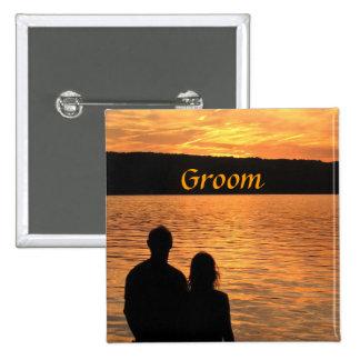 Tropical Beach Sunset Groom Pin