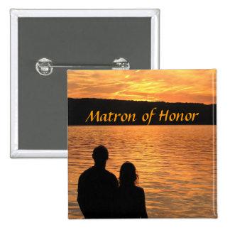 Tropical Beach Sunset Matron of Honor Pin