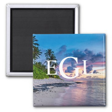Beach Themed Tropical Beach Sunset Monogram Custom Personalized Magnet
