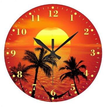 Beach Themed Tropical Beach Sunset Ocean Palm Trees | Large Clock