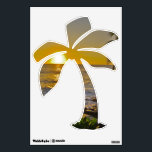 """Tropical Beach Sunset Palm Tree Wall Decal<br><div class=""""desc"""">Decorate walls for a luau,  tropical theme wedding,  or simply for whimsical island decor with this palm tree wall decal.  ocean waves,  setting sun dipping below the horizon,  and a hint of palm tree fronds create a dramatic design.</div>"""
