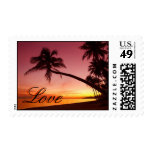 Tropical Beach Sunset Palm Trees Love Postage Stamp