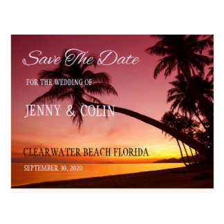 Tropical Beach Sunset Palm Trees Save The Date Postcard