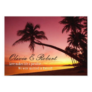 Tropical Beach Sunset Palm Trees Wedding Reception 5x7 Paper Invitation Card