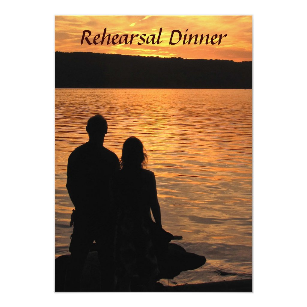 Tropical Beach Sunset Rehearsal Dinner Card