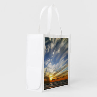 Tropical Beach Sunset Reusable Grocery Bag