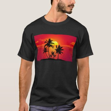 Beach Themed Tropical Beach Sunset T-Shirt
