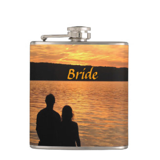 Tropical Beach Sunset Wedding Bride Flask