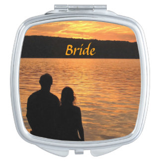 Tropical Beach Sunset Wedding Brides Vanity Mirror