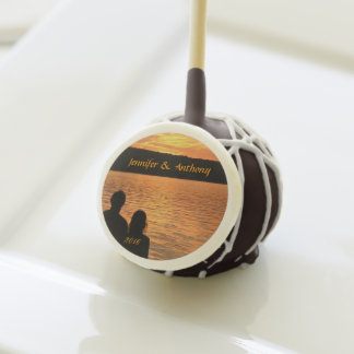 Tropical Beach Sunset Wedding Cake Pops