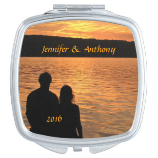 Tropical Beach Sunset Wedding Compact Mirror