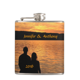 Tropical Beach Sunset Wedding Flask