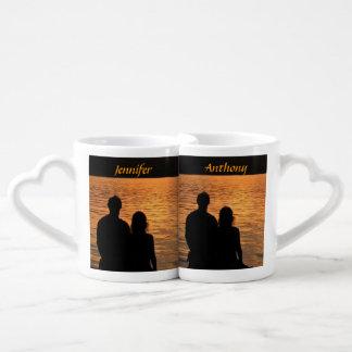 Tropical Beach Sunset Wedding Lovers Mugs