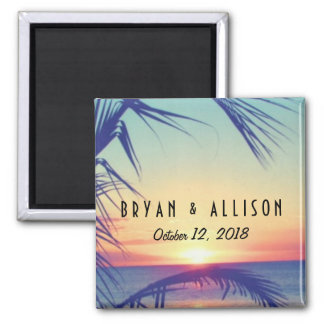 Tropical Beach Sunset Wedding Magnets