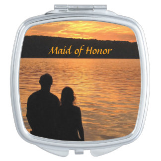 Tropical Beach Sunset Wedding Maid of Honor Makeup Mirror