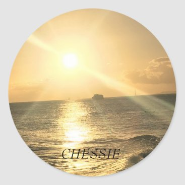 Tropical  Beach Sunset with Beautiful Colours Classic Round Sticker