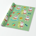 """Tropical Beach Surfing Santa Cute Christmas Wrapping Paper<br><div class=""""desc"""">This design was created through digital art. It may be personalized by clicking the customize button and changing the color, adding a name, initials or your favorite words. Contact me at colorflowcreations@gmail.com if you with to have this design on another product. Purchase my original abstract acrylic painting for sale at...</div>"""