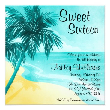 printcreekstudio Tropical Beach Sweet 16 Birthday Party Invitations
