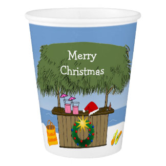 Tropical Beach Tiki Hut Bar Christmas Custom Words Paper Cup