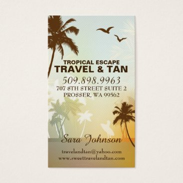 Beach Themed Tropical Beach Travel & Tan Business Card