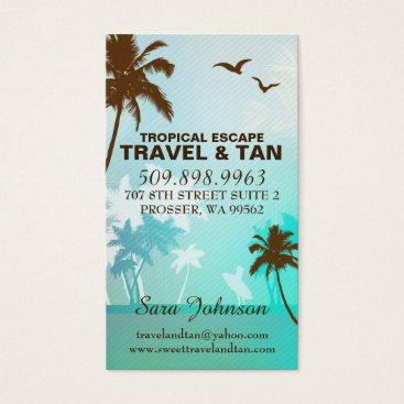 Beach Themed Tropical Beach Travel & Tan Business Card Blue