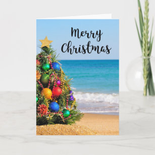 Beach christmas cards greeting photo cards zazzle tropical beach tree merry christmas greeting card m4hsunfo