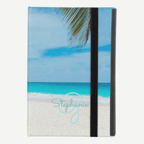 Tropical Beach Turquoise Monogram Palm Tree Chic iPad Mini 4 Case