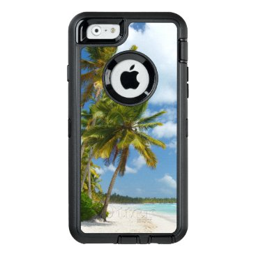Beach Themed Tropical Beach Turquoise Water and Coastal Palms OtterBox Defender iPhone Case