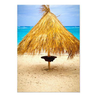 Tropical beach umbrella card