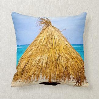 Tropical beach umbrella throw pillow