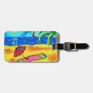 Tropical Beach Vacation - Art by Galina - Bag Tag