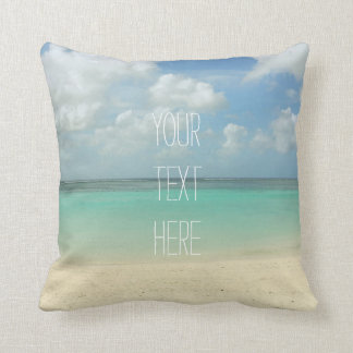Tropical Beach Vacation Customizable Quote Throw Pillows