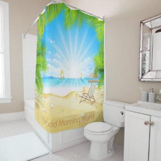 tropical beach vacation paradise customizable shower curtain