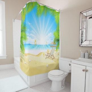 tropical beach vacation paradise shower curtain