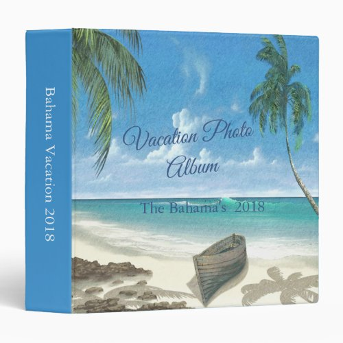 Tropical Beach Vacation Photo Album 3 Ring Binder