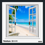 "Tropical Beach View Mural Fake Window Wall Sticker<br><div class=""desc"">Beautiful ocean view,  fake window scene,  for a windowless office. Very realistic landscape optical illusion wall sticker that would look great on an office or study wall.</div>"